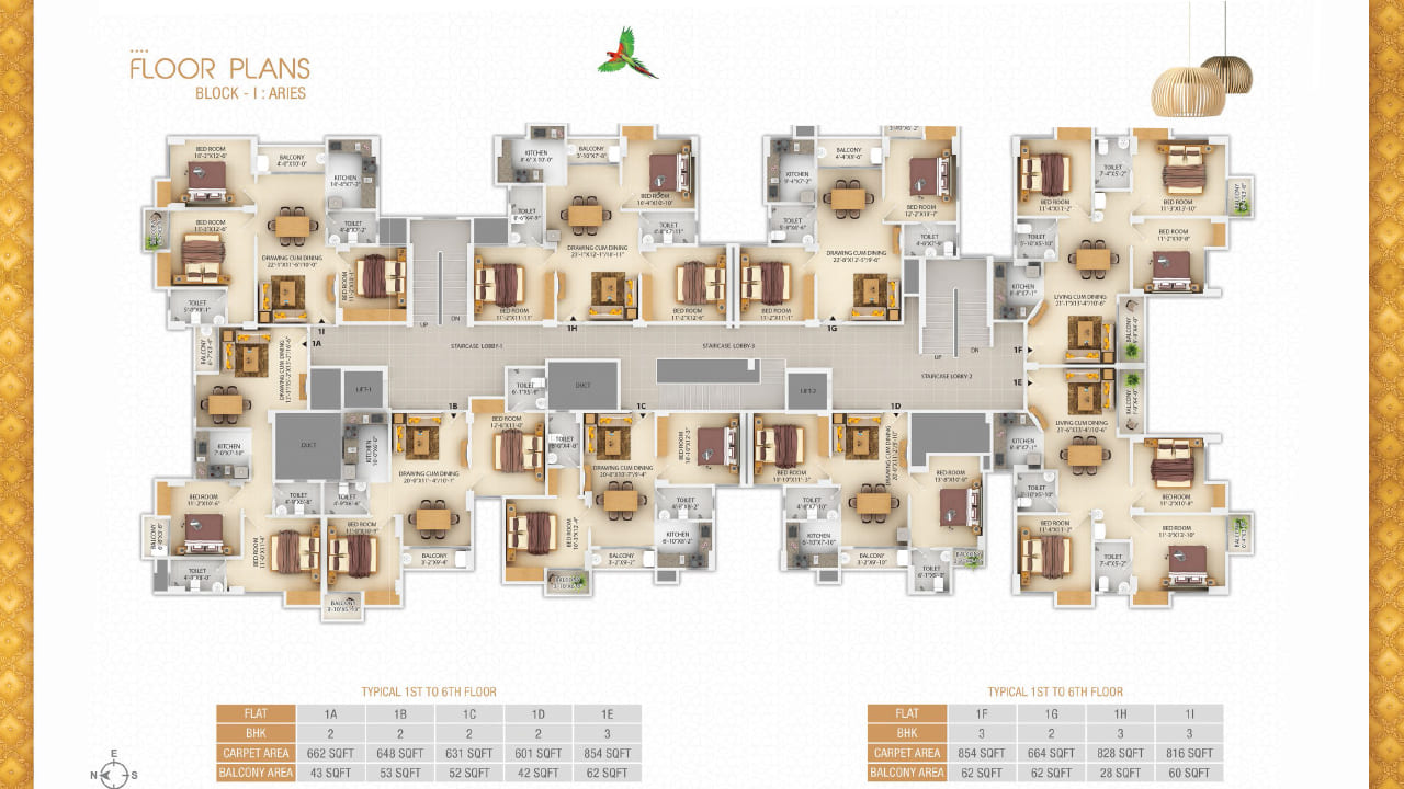 Typical first to sixth floor plan