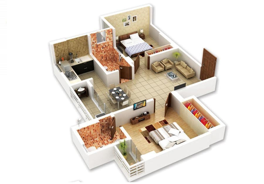 Indicative isometric view of a 2BHK apartment in Protech Galaxy, Bhetapara, Guwahati.