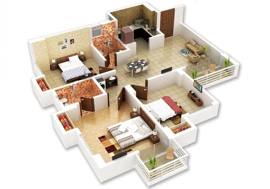 Indicative isometric view of a 3BHK apartment in Protech Galaxy, Bhetapara, Guwahati.