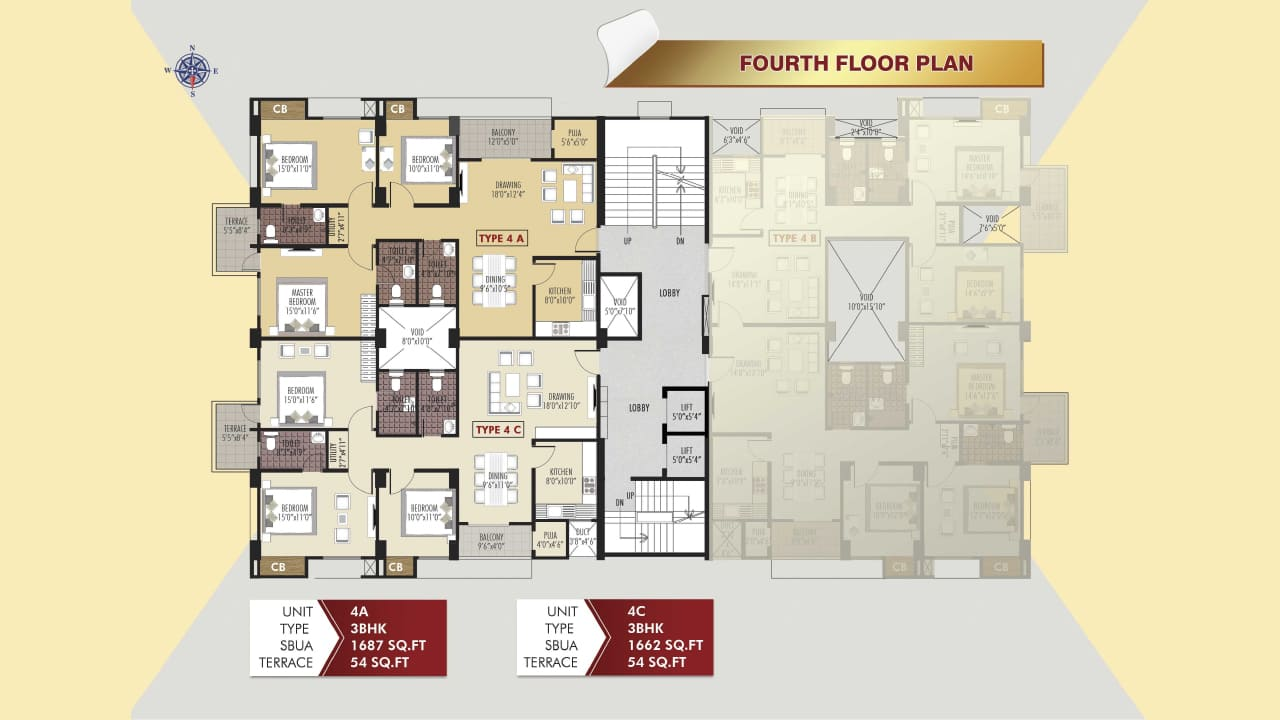Protech Tara Hira Fourth Floor Plan