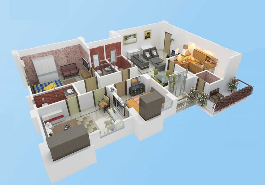 Isometric view of a 3BHK falat in Protech Tara Hira - Unit 3A.
