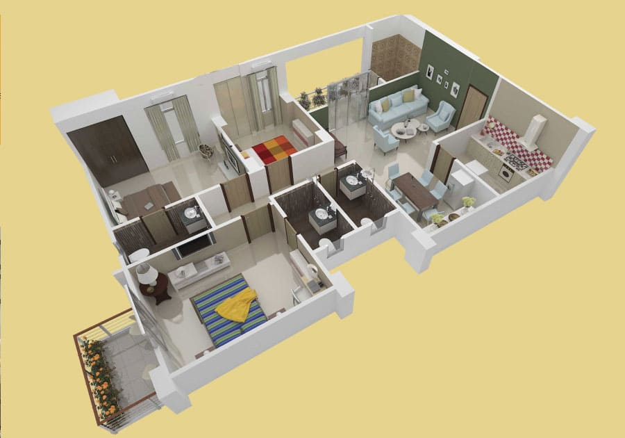 Isometric view of a 3BHK property in Protech Tara Hira - Unit 7C.