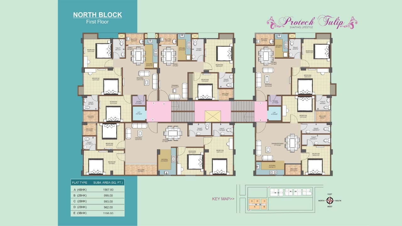 First Floor Plan of 2 BHK, 3 BHK, 4 BHK flats at Protech Tulip, Guwahati. Ready to move flats available.