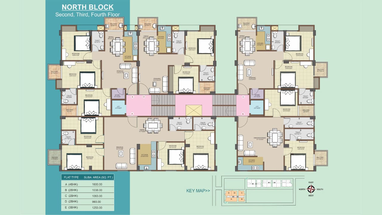 Second, Third and Fourth Floor Plans of 2 BHK, 3 BHK, 4 BHK flats at Protech Tulip, Guwahati. Ready to move flats available.