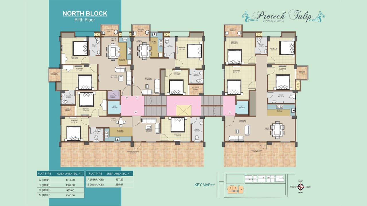North Block Fifth Floor Plan of 2 BHK, 3 BHK, 4 BHK flats at Protech Tulip, Guwahati. Ready to move flats available.